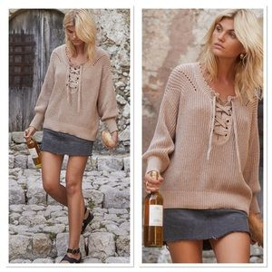 Auguste the Label Camino Knit Lace Up Sweater 4